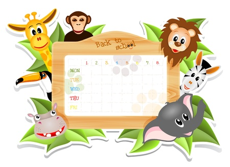 schedule: school timetable with animals, illustration with transparency Illustration