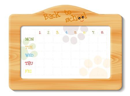 cronograma: horario escolar, en el marco de madera, ilustración con la transparencia