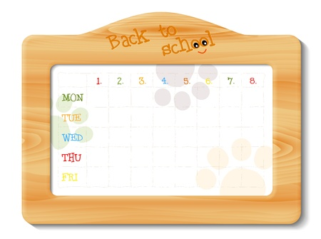 school timetable in wooden frame, illustration with transparency Vector