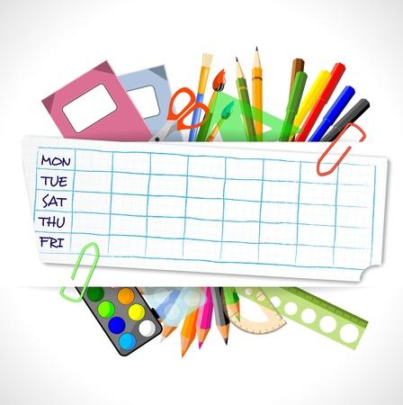 cronograma: horario escolar con artículos de papelería, ilustración vectorial, eps10 con la transparencia