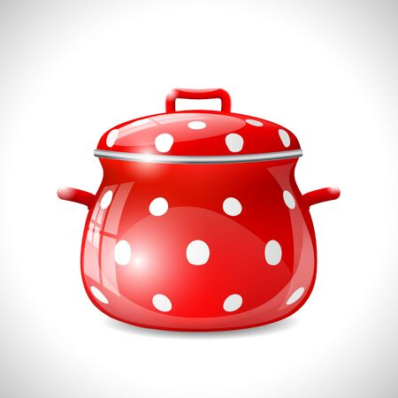 red pot with white dots on white background, vector illustration, eps 10, with transparency and gradient meshes Illustration