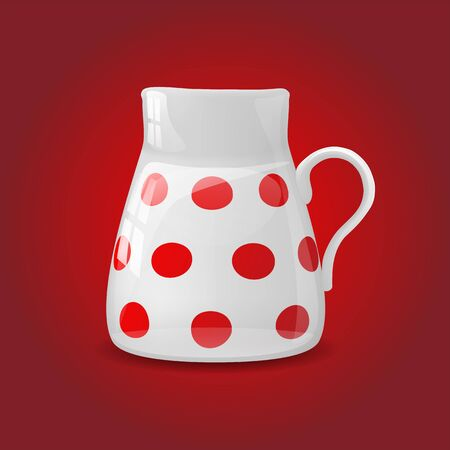 chinaware: White ceramic pot with red dots, vector illustration, eps 10, with transparency and gradient meshes