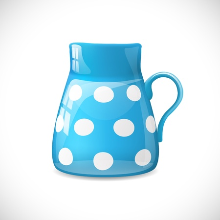 chinaware: Blue ceramic pot with white dots