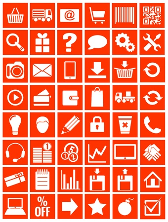 eshop: web icons for eshop, flat design, white on red background