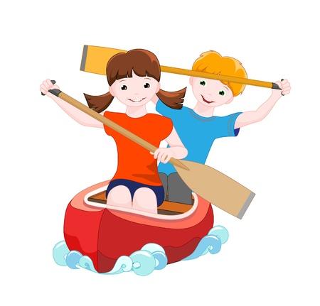 소녀와 소년 흰색 배경, 벡터 일러스트 레이 션에 고립 된 카누에 강을 아래로 이동