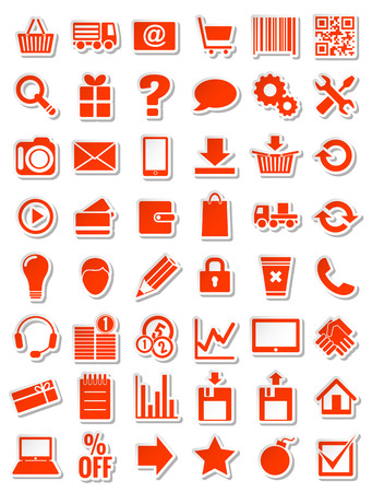 red web icons for red, with shadow, vector illustration Vector