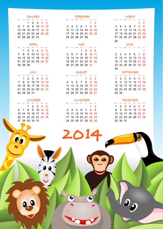 cartoon zebra, elephant, giraffe and lion with calendar 2014 - vector illustration Vector