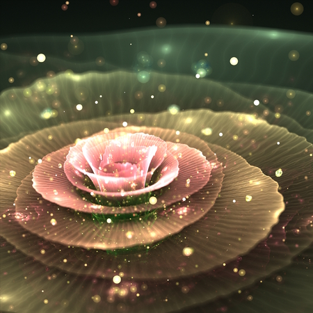 pink and green abstract fractal flower with droplets of water on black background, illustration illustration