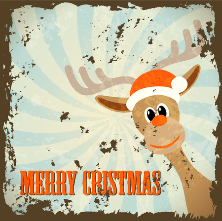 retro christmas theme with reindeer and text merry christmas, vector illustration, eps 10, with transparency Vector