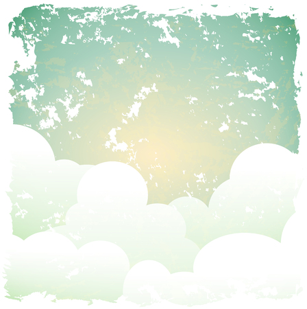 raggedy: abstract retro background with blue sky and clouds, vector illustration, eps 10