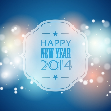 new year 2014 greeting card, blue bokeh background with lights, vector illustration, eps 10 with transparency Vectores
