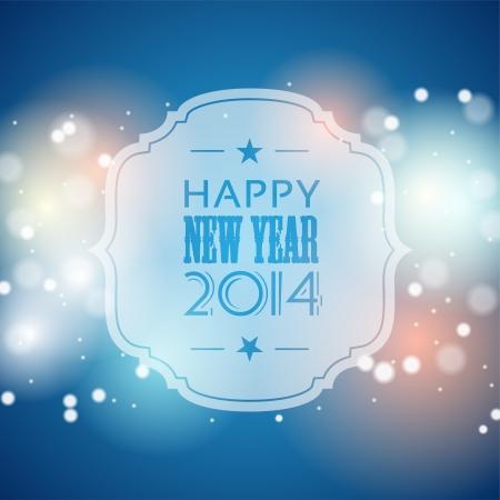 nieuwe jaar 2014 wenskaart, blauw bokeh achtergrond met lichten, vector illustratie, eps 10 met transparantie