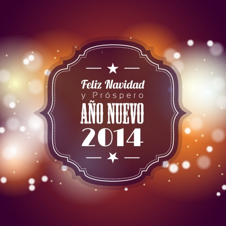 christmas and new year greeting card with abstract bokeh background, spanish, version,  vector illustration, eps 10, with transparency