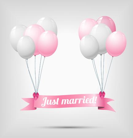 recien casados: cinta con el texto sólo se casó, colgando en blanco una nd globos de color rosa, ilustración vectorial, eps 10, con transparencia y malla de degradado Vectores