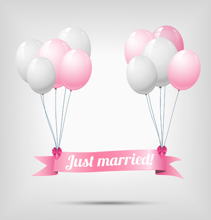 just: ribbon with text just married, hanging on white a nd pink balloons, vector illustration, eps 10, with transparency and gradient mesh