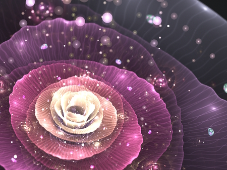 pink abstract flower with sparkles on black background, fractal illustration illustration