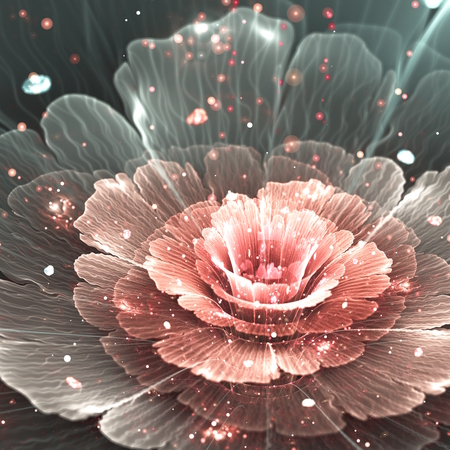 pink and gray abstract  flower with pink sparkles, illustration