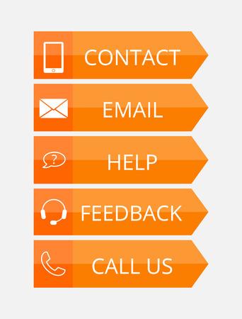 hands free phone: naranja botones de contacto planas con iconos, ilustraci�n vectorial, EPS 10 con la transparencia Vectores