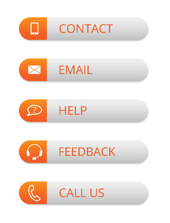 orange and white rounded contact buttons with icons, vector illustration, eps 10
