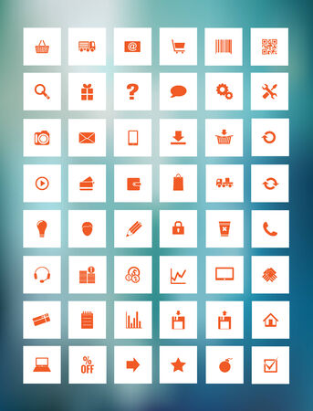 eshop: orange icons for eshop, suitable for flat design, with transparency and gradient mesh, eps 10