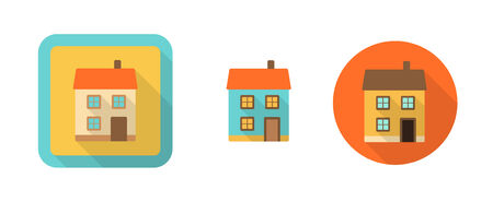 three retro icons with house, vector illustration, eps 10, with transparency Vector
