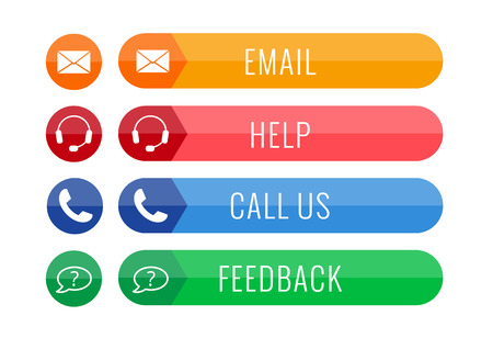 four contact buttons in flat style isolated on white background