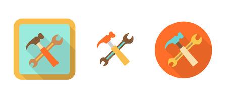 three orange: three retro icons with hammer and wrench, tool Illustration