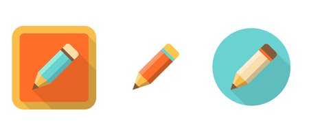 edit button: three retro pencil icons in flat style isolated on white background
