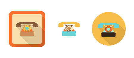 three retro phone icons in flat style isolated on white background Vector