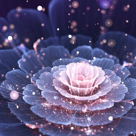 Flores de color rosa y gris del fractal - obra de arte digital, ilustración generada por ordenador Foto de archivo - 27866596