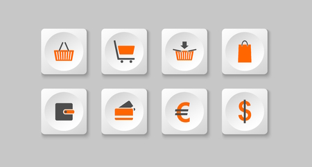 orange and gray e shop buttons  Vector