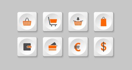 orange and gray e shop buttons  Vector