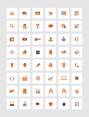 orange and gray icons for eshop, suitable for flat design Vector