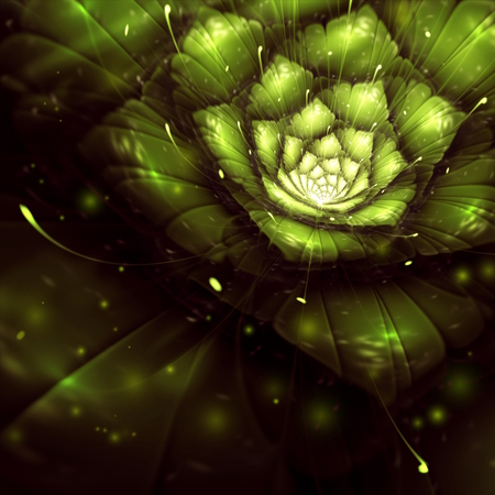 green abstract flower with sun rays, fractal, digital art, bitmap illustration Stock Illustration - 28458031