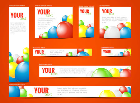 horizontal format horizontal: set of  web banners with colorful balloons, with copy space, vector illustration, eps 10 with transparency Illustration