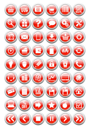 web icons for eshop, with glossy effect, white on red background, Vector