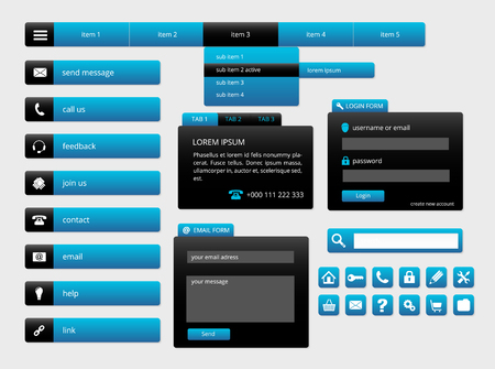modern black and blue web ui elements, forms, buttons and icons Vector