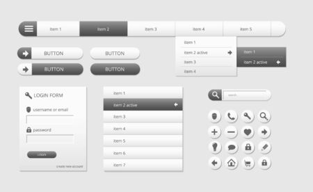 button down: modern black and white web ui elements Illustration