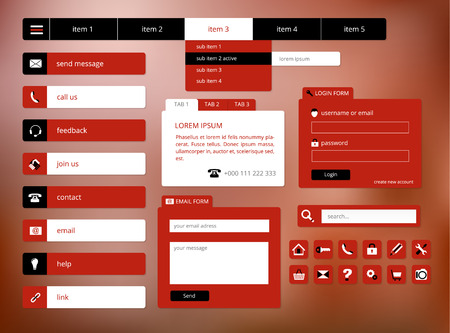 modern black and red web ui elements, suitable for flat design Vector