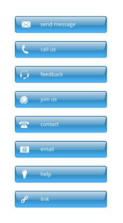 glossy buttons: Internet blu lucido pulsanti su sfondo bianco, EPS 10 con trasparenza Vettoriali