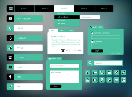 modern black and green web ui elements, suitable for flat design, vector illustration, eps 10 with transparency Vector
