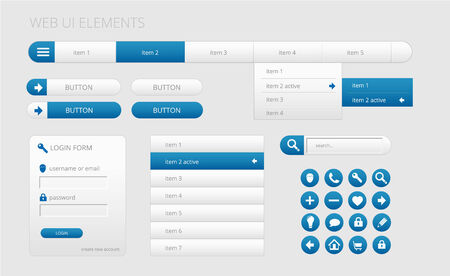 modern gray and blue web ui elements, vector illustration, eps 10 with transparency Vector