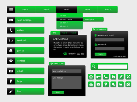 modern black and green web ui elements, forms, buttons and icons, vector illustration, eps 10 with transparency Vector
