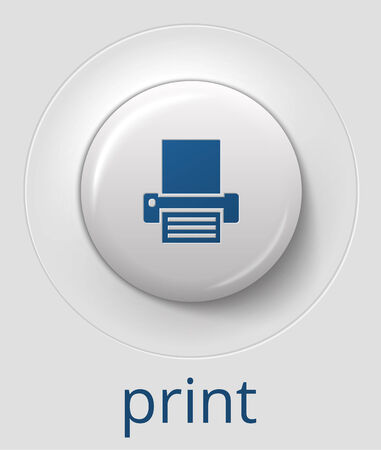 big white glossy print button, with 3d effect, vector illustration, eps 10 with transparency Vector