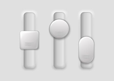 three vertical white switches on gray background illustration