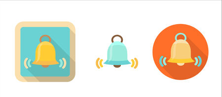 tinkle: bell retro icon in flat style illustration