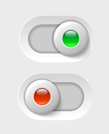 on - off switches, white with 3d effect, with red and green led light illustration Vector