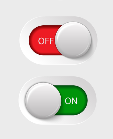 on - off switches, white with 3d effect, with red and green background illustration Vectores