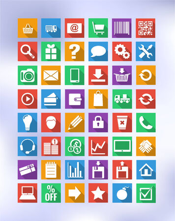 colorful icons for e-shop with long shadow Vector