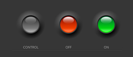 enabled: gray, green and red glossy control buttons illustration Illustration